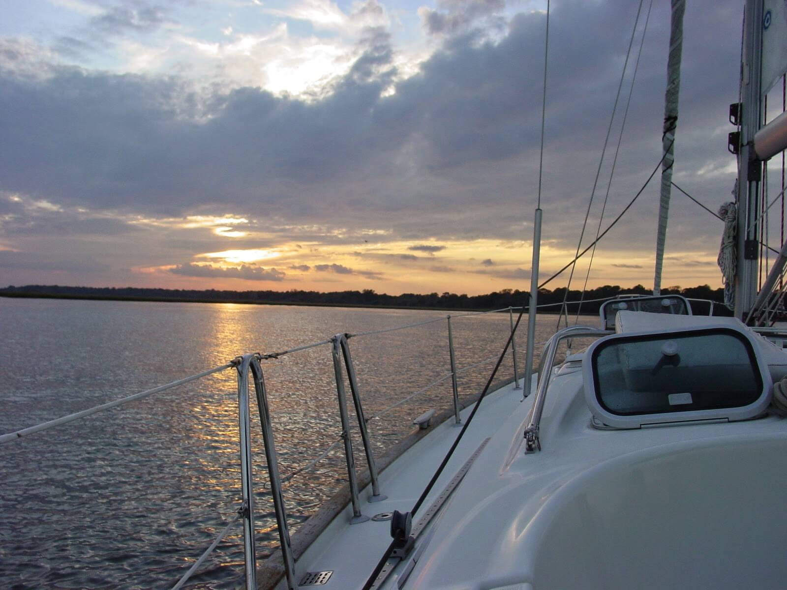 South Carolina sunset taken portside from a Beneteau by Ocean Sailing Academy