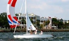 Sailing a keelboat in Charleston Harbor